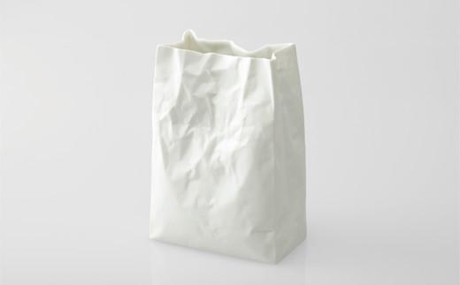 やきもので作られた紙袋の花器 スーパーバッグ#1