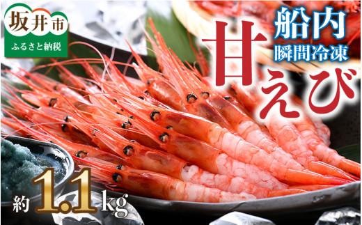 [A-2301] 海の上で食べる味!「共栄丸」直送☆船内瞬間冷凍 甘えび 約1.1kg