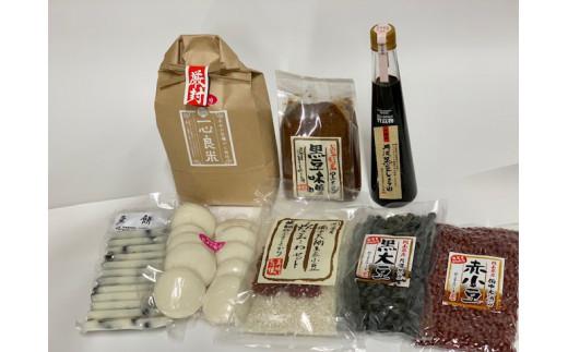 TA-16. ふる里からの贈り物(お米、お餅、黒豆味噌、黒豆醤油等詰め合わせ)