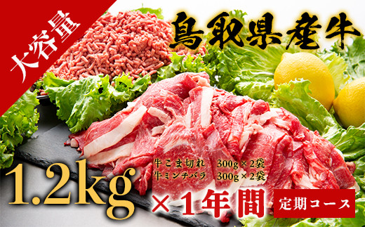 Y008 【乳質日本一!】鳥取県産牛大容量 1年間定期コース