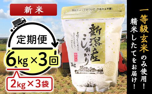 31-03【3ヶ月連続お届け】新潟県産コシヒカリ6kg(2kg×3袋)