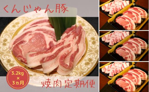 【3ヶ月連続】くんじゃん豚の焼肉定期便《3.2キロ×3回分=総計9.6キロ》