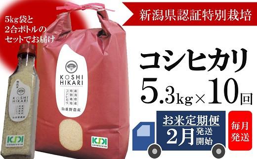 [L003] 【定期便】重ちゃんが愛情込めて作ったコシヒカリ白米(5.3㎏×10回)
