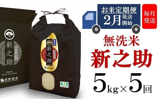 [D529] 【定期便】重ちゃんが愛情込めて作った新之助 無洗米(5㎏×5回)