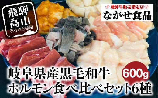 岐阜県産 黒毛和牛 ホルモン 食べ比べセット 600g(100g×6) 飛騨高山 a579