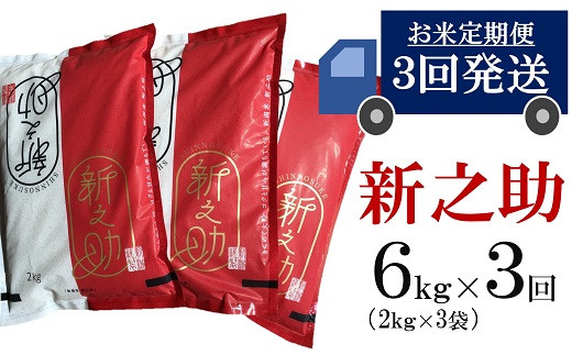 [C382]【五ツ星お米マイスター厳選の定期便】新之助 白米(6㎏×3回)