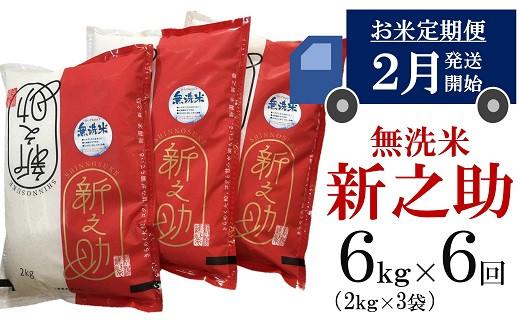 [H612]【五ツ星お米マイスター厳選の定期便】新之助 無洗米(6㎏×6回)