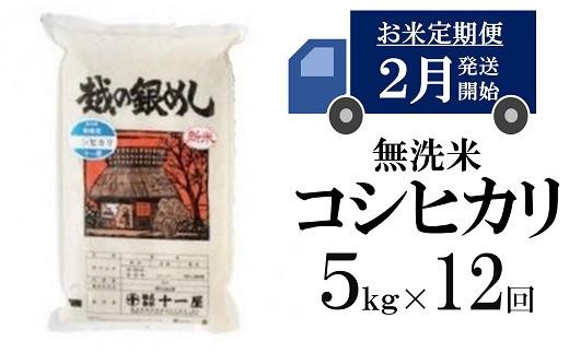 [M004]【五ツ星お米マイスター厳選の定期便】コシヒカリ 無洗米 (5kg×12回)