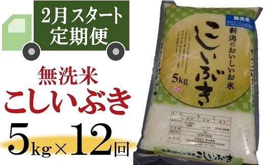 [K902]【定期便】柏崎産 こしいぶき 無洗米(5㎏×12回)