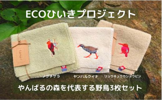 地域の自然を守るタオル やんばるの森を代表する野鳥 3枚セット(ヤンバルクイナ、ノグチゲラ、リュウキュウアカショウビン)《GOTS認証オーガニック》~ECOひいきプロジェクト~