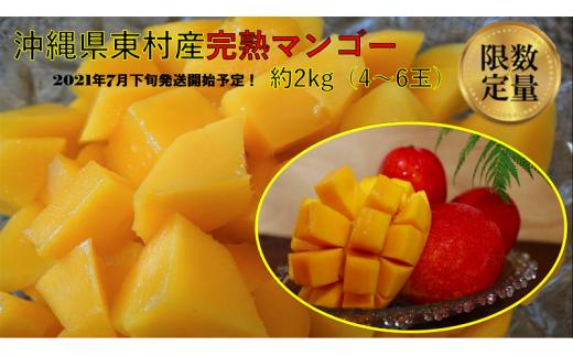 ❣美味しいマンゴーをお届け❣ 東村産完熟マンゴー 約2kg(4~6玉)【2021年7月下旬発送開始予定!】