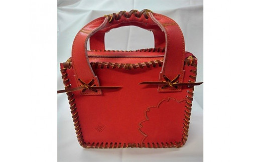 No.065 グローブの革製ミニトートバック 紅桜 / カバン 鞄 2WAY レザー 手作り 大阪府 特産品
