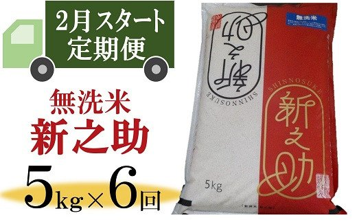 [D538]【定期便】柏崎産 新之助 無洗米(5㎏×6回)