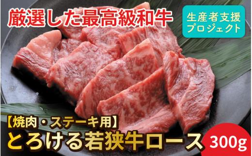 とろける若狭牛ロース 300g 【焼肉・ステーキ用】【ニコニコエール品】 [A-10051]
