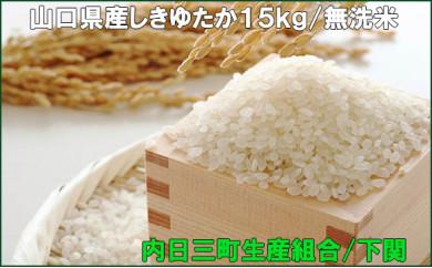 山口県産しきゆたか15kg 無洗米(2020年収穫/精米まで内日三町生産組合にて一貫加工)