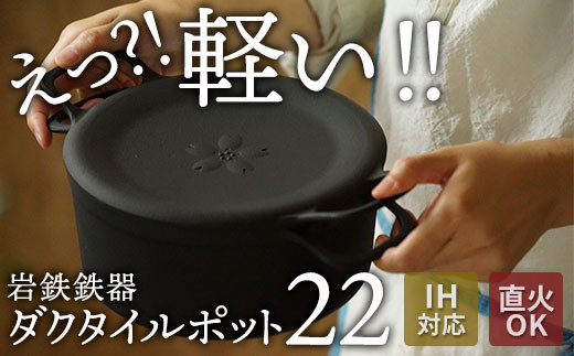 【IH対応】軽い!錆びにくい!岩鉄鉄器の万能鉄鍋 ダクタイルポット22