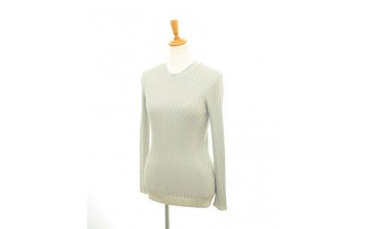 【UTOカシミヤ】シルク100% レディースリブ編みクルーネックプルオーバー