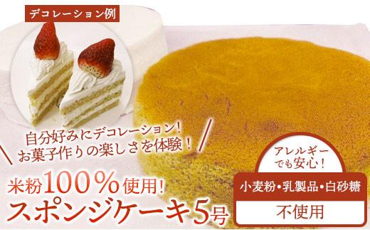 【乳製品/小麦粉/白砂糖不使用】米粉100% スポンジケーキ 5号