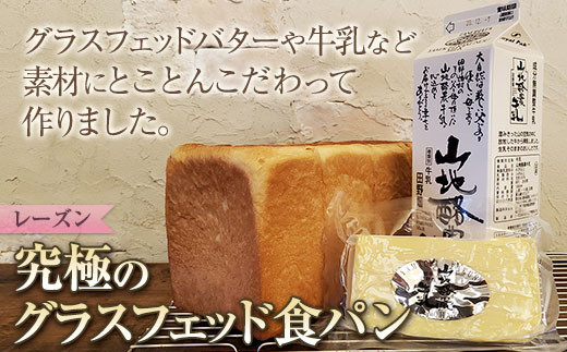 【毎月9本限定】究極のグラスフェッド食パン レーズン入り 2斤サイズ