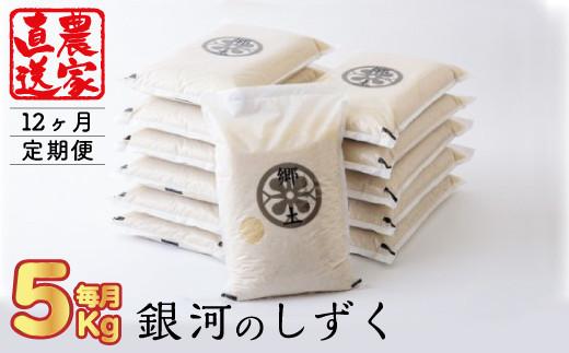 【12ヶ月定期便】銀河のしずく(5kg)400年続く農家が育てた菅野家のお米