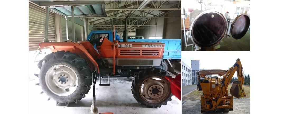 左:大型トラクター 右上:レトルト殺菌装置 右下:油圧ショベル