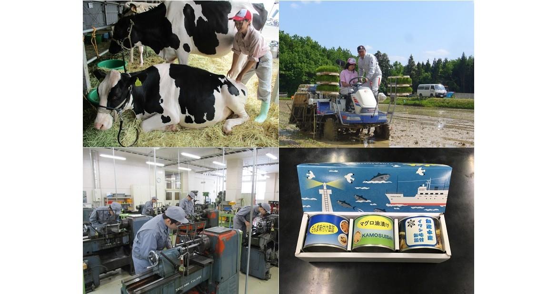 左上から 牛の飼育実習 田植え実習 金属加工実習 実習で製造した缶詰