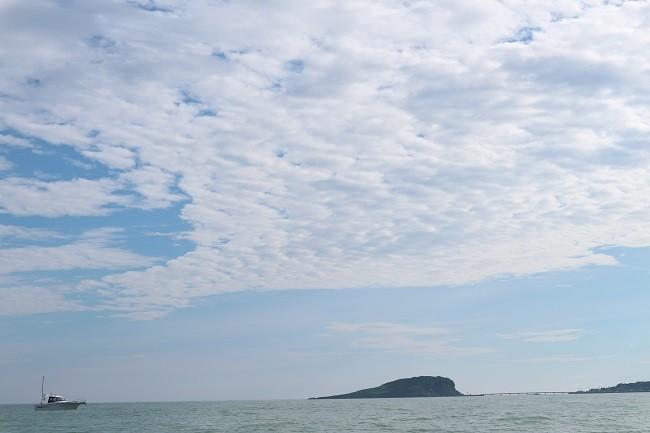 朝の三国沖、奥に見えるのは雄島です。