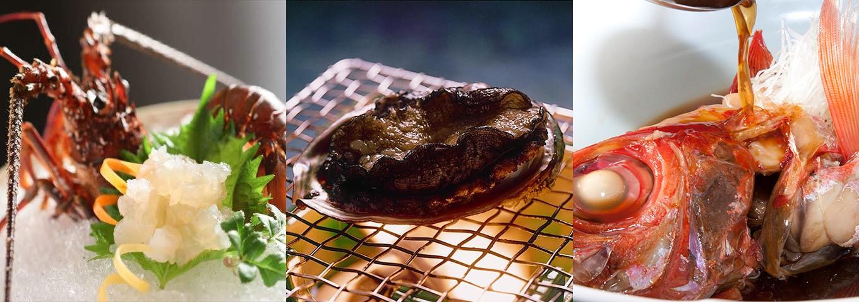 房総3大食材の伊勢海老、鮑、金目鯛姿煮が付く極上プランです!
