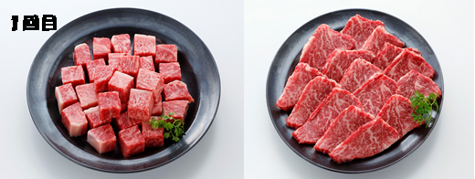 (左)伊万里牛ロースサイコロステ-キ (右)ヒレ焼肉