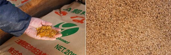 (左)飼料用のきなこ  (右)飼料用玄米