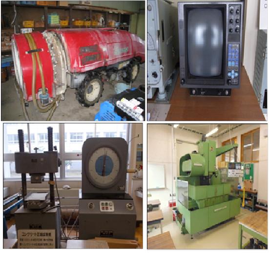 左上からスピードプレーヤー レーダー 万能材料試験機 数値制御工作機