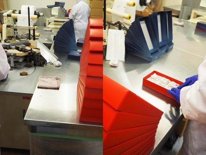 個包装の機械で包んで、箱に詰めたら完成です!