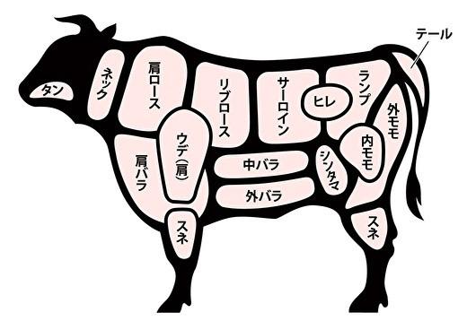 牛肉のそれぞれの部位の名称