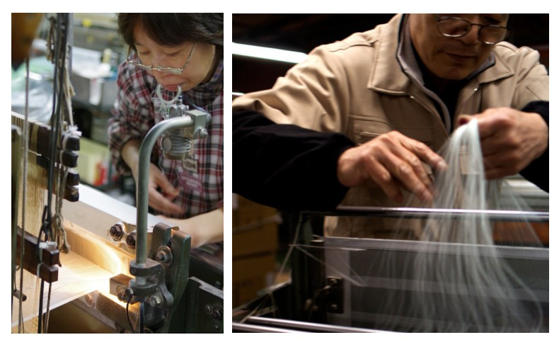 指先で極細のシルク糸を自由自在に操る職人