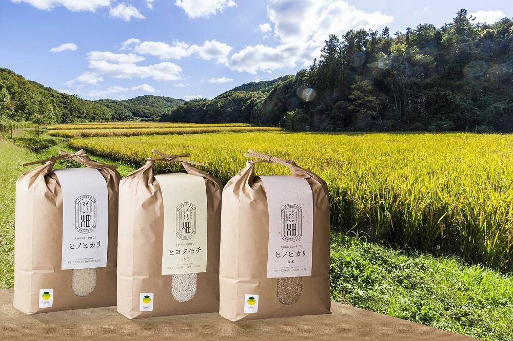 お届けは、ヒノヒカリの「玄米」「精米」各5kgと「もち米」5kgです