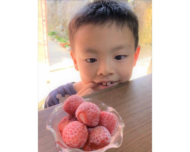 エースいちごさん家のお子様!イチゴ大好きなんですって!