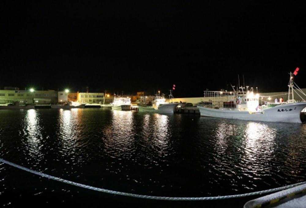 早朝5時、漁船の明かりがつき、荷揚げの準備にとりかかります。