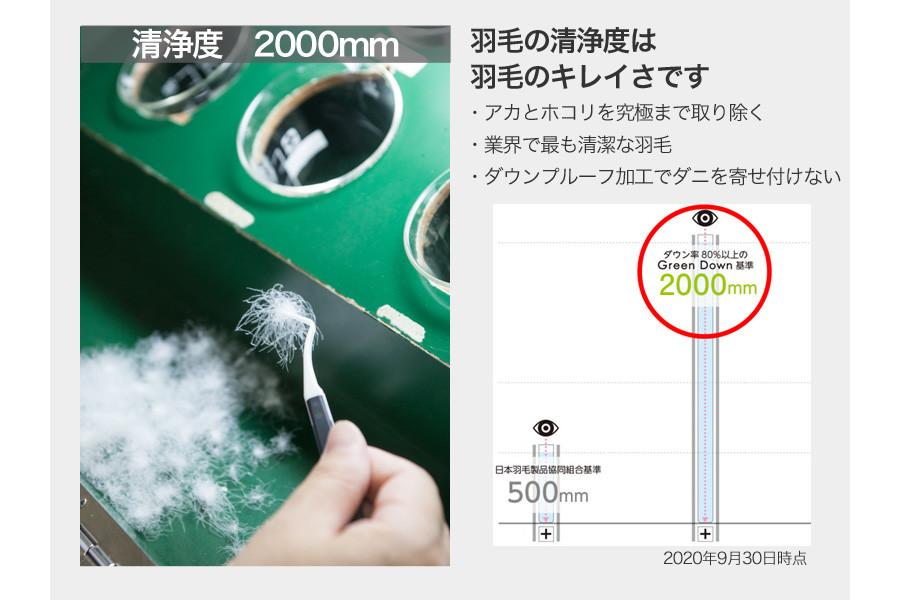 洗浄度2000mm洗浄度は羽毛のキレイさです。