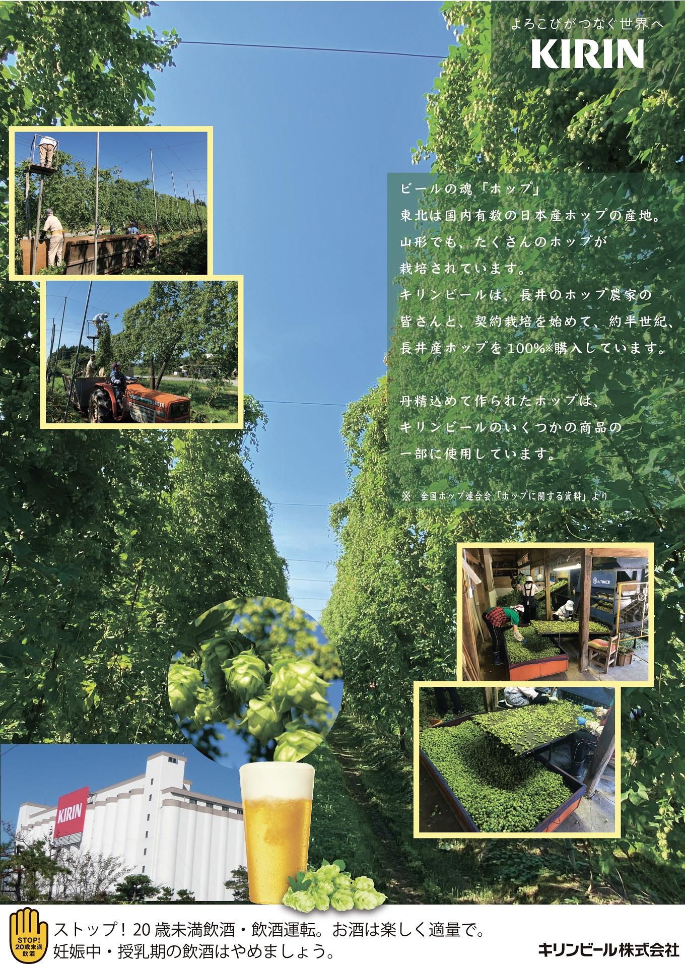 ポスターなどでキリンビールと長井市の関わりをPR