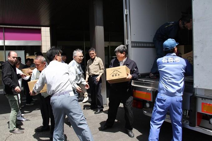 石巻市より救援物資をいただきました。