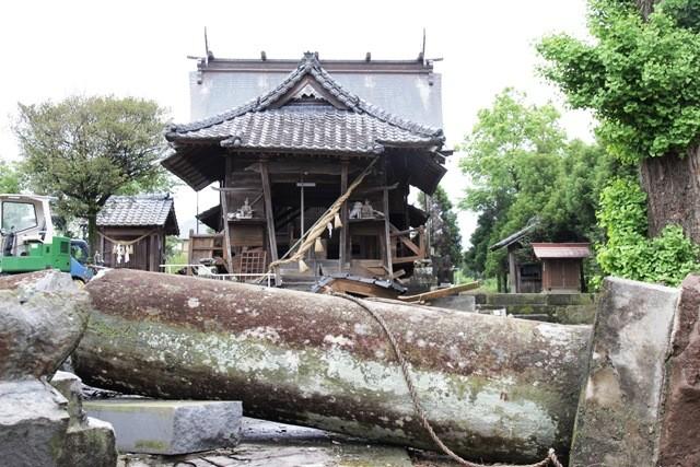 (熊本県上益城郡)御船町の被害状況 護比君(ごしきみ)神社(高木)