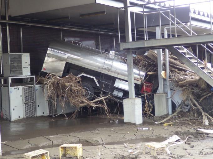 被災した岩泉ヨーグルトの製造工場