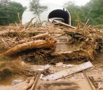 広内地区の線路が流木や土砂で埋もれている様子