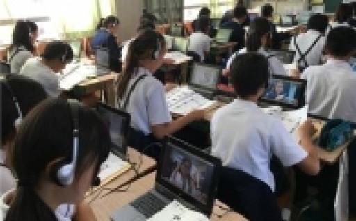 全国初!上峰小学校オンライン英会話授業スタート
