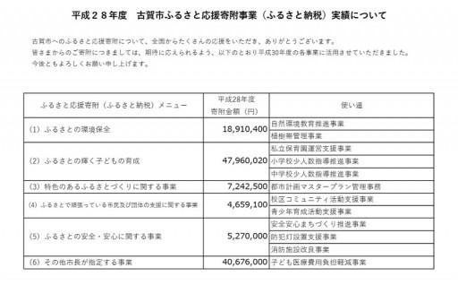 平成28年度古賀市ふるさと納税実績について