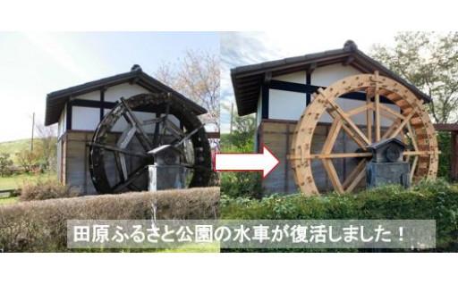 【田原ふるさと公園の水車が復活しました!】